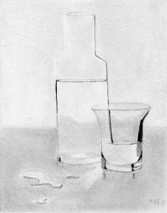 un dessin au crayon d'un verre et d'une carafe