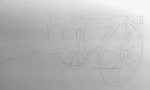 dessin d'une charrette au trait