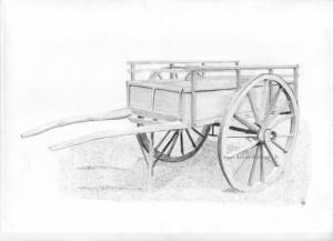 dessin d'une charrette en bois faites au crayon graphite