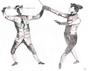 Dessin au crayons de deux duellistes