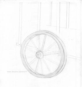 roue de charrette en trait et au crayon graphite