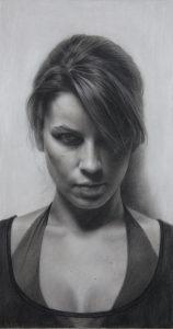dessin réaliste d'un portrait de Laura par D. Kassan