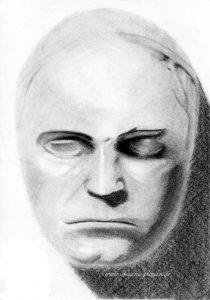 dessin du masque mortuaire de Beethoven
