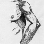 dessin au fusain d'une partie d'un torse et d'un bras d'homme