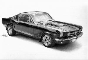 dessin au crayon graphite d'une voiture de collection.