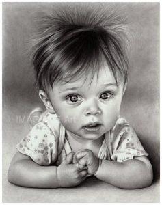 Dessin au crayon graphite d'un joli bébé