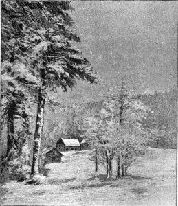 dessin d'un paysage enneigé
