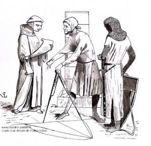 dessin à l'encre représentantun moine et des ouvriers