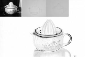 dessin presse-citron en porcelaine