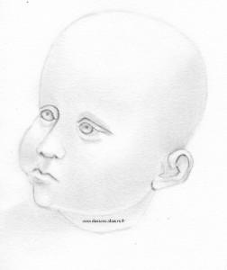 dessin au graphite d'une tête de bébé