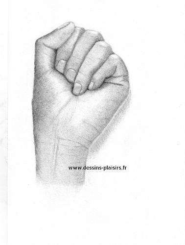 Main ferm e au fusain - Dessin de mains ...