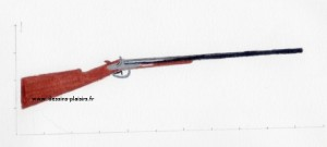 Peinture à la gouache d'un fusil de chasse