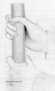 croquis d'une main tenant un pieu