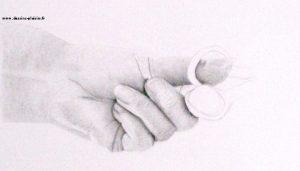 dessin d'une main tenant une paire de ciseaux