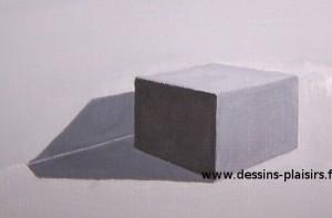 essai à la peinture d'un cube et son ombrage
