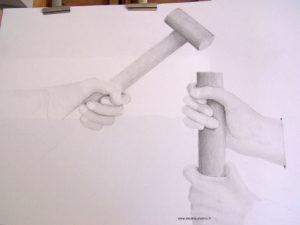 dessin de 4 mains aux travail