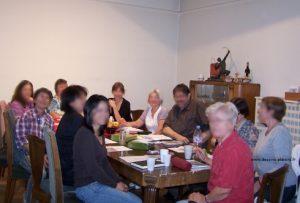Photo avant le premier repas du stage de peinture