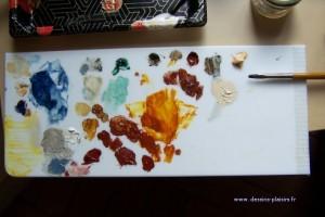 photo de ma palette durant le stage de peinture