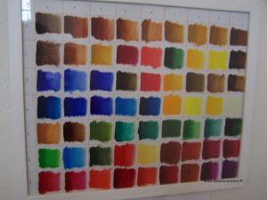 Photo d'un nuancier réalisé peinture à l'huile