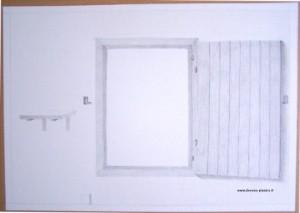 Dessin d'une fenêtre du Moyen-Age réalisé au crayon graphite