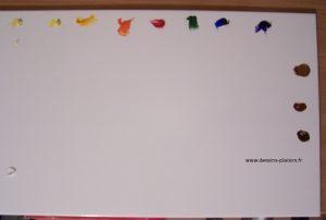 Photo de ma palette avec des couleurs de peinture