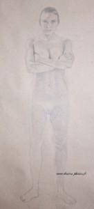 dessin en cours d'un nu