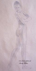 Dessin au crayon graphite d'un nu de femme