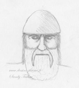 Croquis au crayon graphite d'une tête de Viking