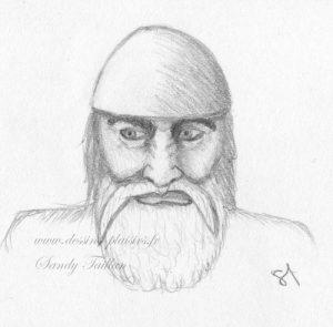Croquis au crayon graphite d'une tête de Viking méchant