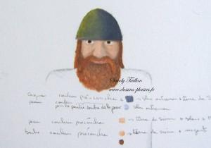 Ebauche à la peinture à l'huile d'une tête de Viking