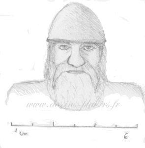 Tête de Viking au crayon graphite