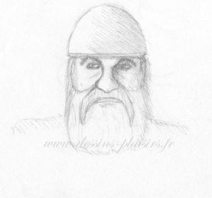 dessin d'une tête de viking au crayon graphite