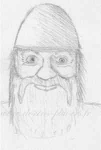Dessin au crayon graphite d'une tête de Viking