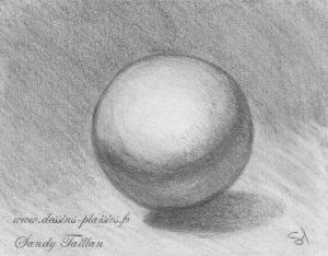 dessin d'une sphère au crayon graphite