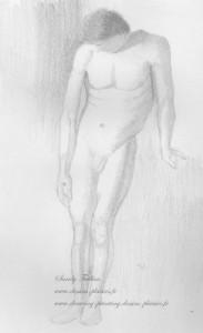 croquis d'un nu d'homme au crayon graphite