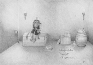 Illustration d'une salle aux trésors au crayon graphite