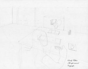 Croquis d'un dessin sur le jeux de carte en ligne