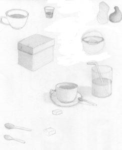 Croquis au crayon graphite de tasses et de verre