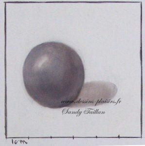 3eme essai d'une sphère en peinture à l'huile