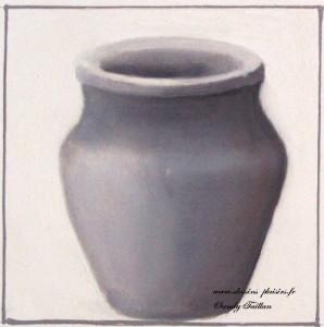 bocal ou poterie en dégradé de gris