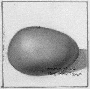 peinture à l'huile d'un œuf en dégradé de gris