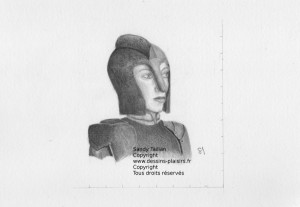 Dessin d'une femme soldat au crayon graphite