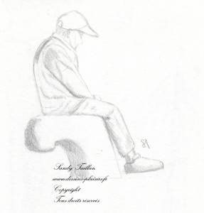 Dessin représentant un homme assis de Sandy Taillan