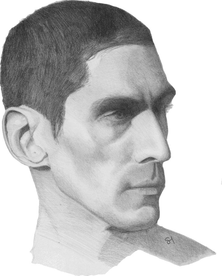 Dessin au crayon d'un homme de profil