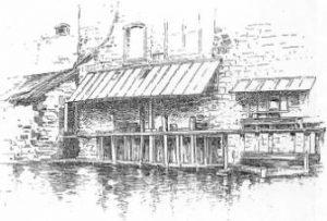 Dessin au trait d'une maison près de l'eau de G. Fraipont