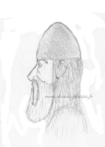 Croquis au crayon graphite de profil d'un viking