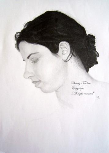 Portrait au crayon graphite d'une femme