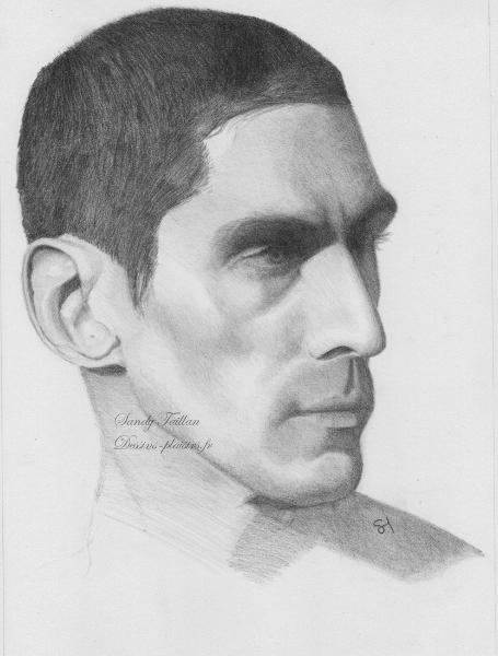 Portrait d'un homme au crayon graphite