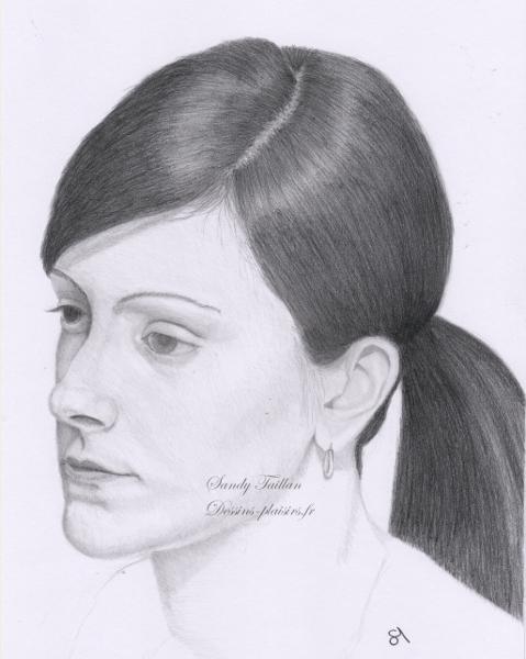 Portrait au crayon de stéphanie
