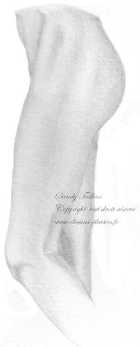Dessin au crayon graphite d'une jambe de femme